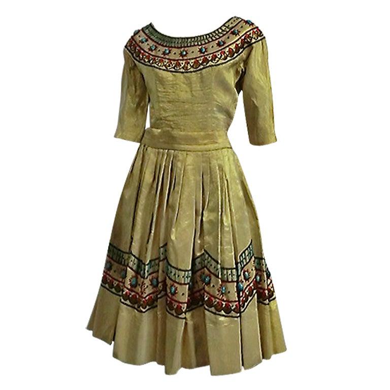 Spun Gold Egyptian Revival Embroidered 50s Ensemble 1