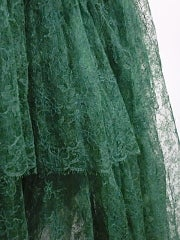 50s Kelly Green Silk Chantilly Lace and Satin Tea Length Gown thumbnail 5