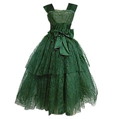50s Kelly Green Silk Chantilly Lace and Satin Tea Length Gown thumbnail 1