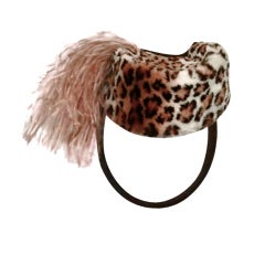40s Stenciled Lapin Fur Tilt Military Style Hat w/ Ostrich Pouf