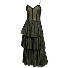 50s Tiered Silk Tulle Dress in Black and Beige Pointe D'Esprit