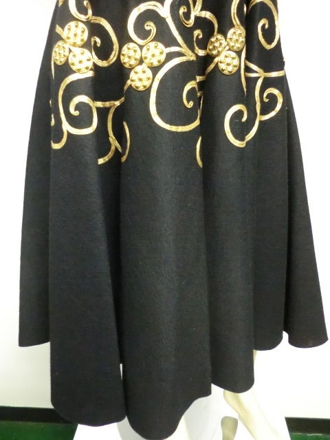 50s Gold coin and Braid Embellished Felt Circle Skirt 2