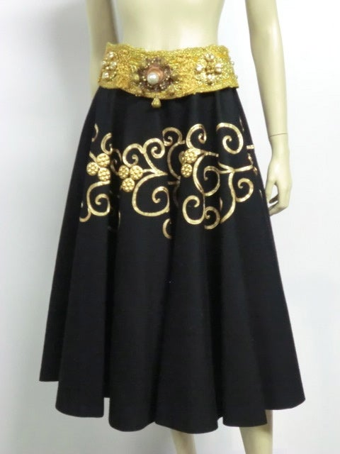 50s Gold coin and Braid Embellished Felt Circle Skirt 3