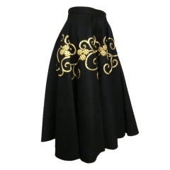 50s Gold coin and Braid Embellished Felt Circle Skirt