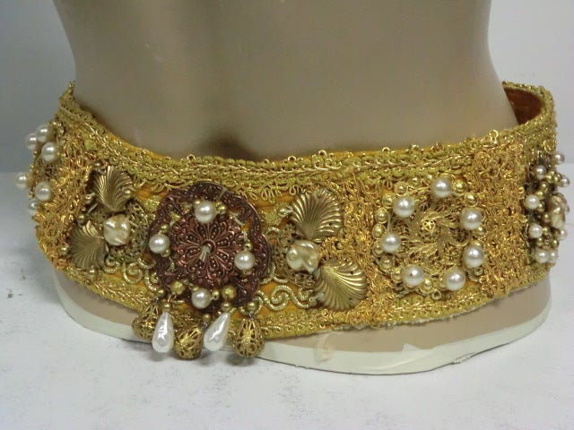 60s Costume Beaded Belt w/ Faux Pearls image 2