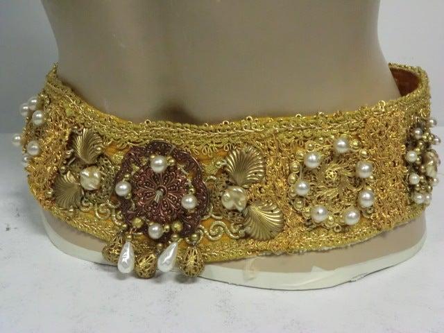 60s Costume Beaded Belt w/ Faux Pearls 2
