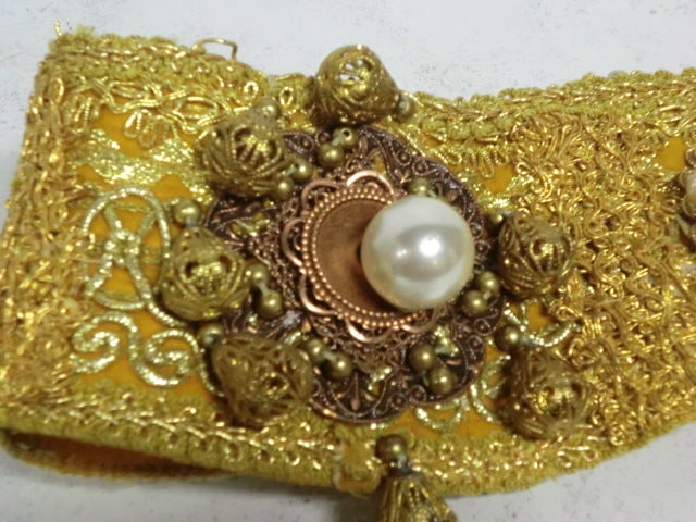 60s Costume Beaded Belt w/ Faux Pearls 3