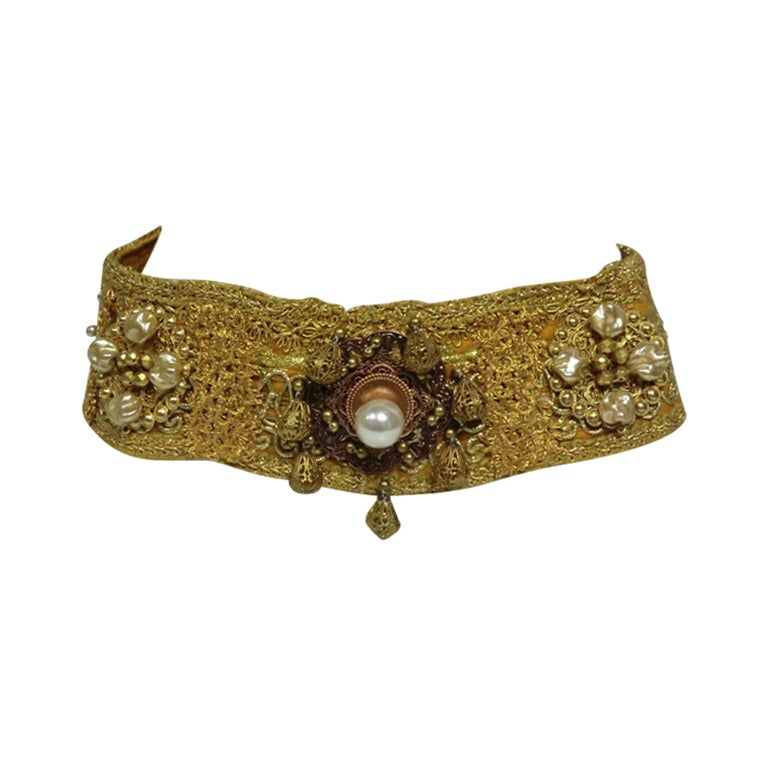 60s Costume Beaded Belt w/ Faux Pearls 1