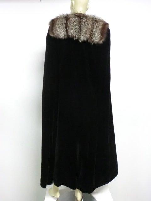 30s Black Silk Velvet Opera Cape w/ Removable Fox Fur Collar 6