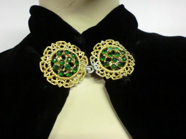 30s Black Silk Velvet Opera Cape w/ Removable Fox Fur Collar 7