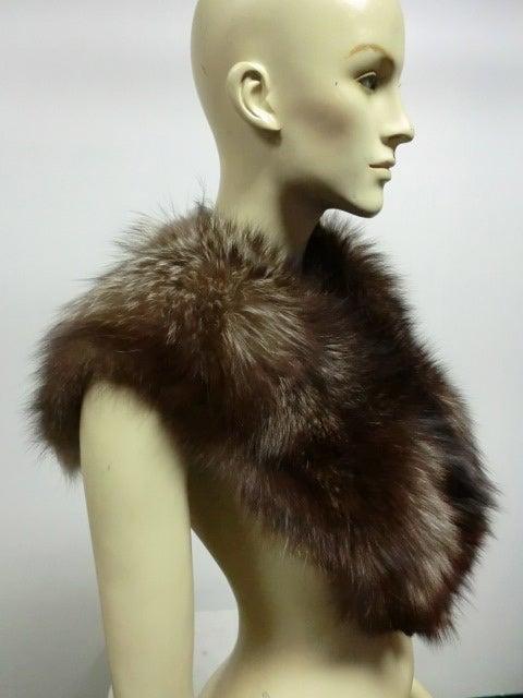 30s Black Silk Velvet Opera Cape w/ Removable Fox Fur Collar 8