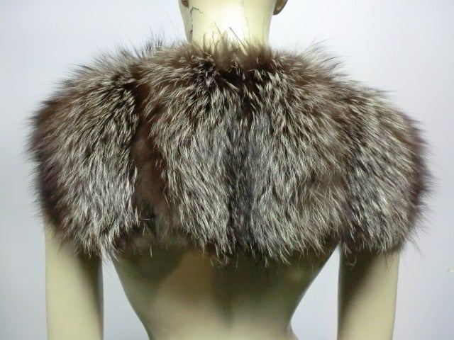30s Black Silk Velvet Opera Cape w/ Removable Fox Fur Collar 9