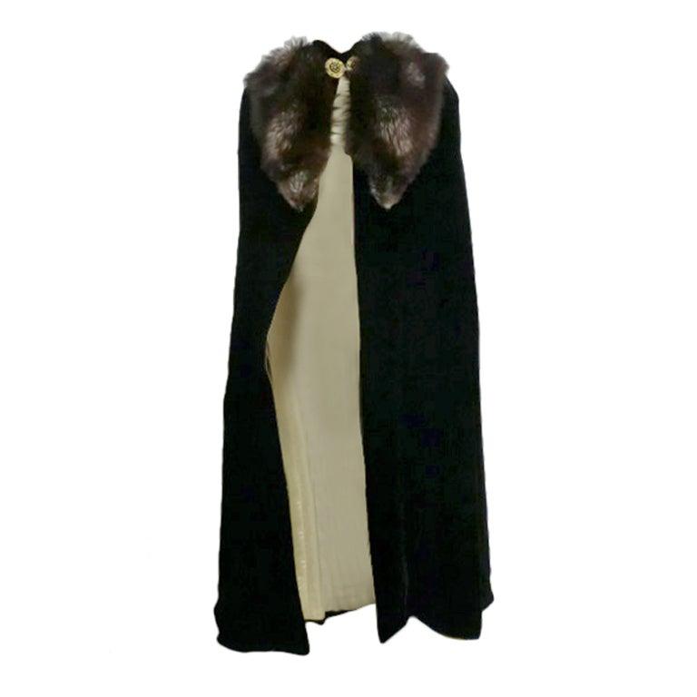 30s Black Silk Velvet Opera Cape w/ Removable Fox Fur Collar 1