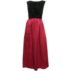60s Velvet and Silk Satin Gown with Black Bead Embellishment