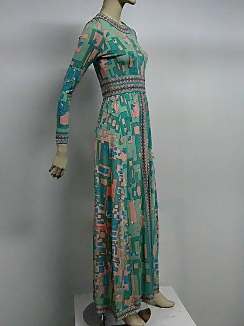 Bessi 60s Silk Jersey Mod Print Maxi Dress 2