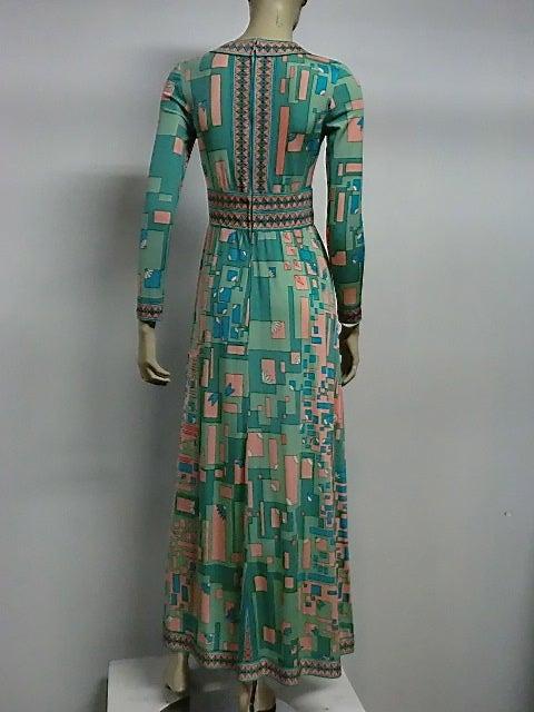 Bessi 60s Silk Jersey Mod Print Maxi Dress 3