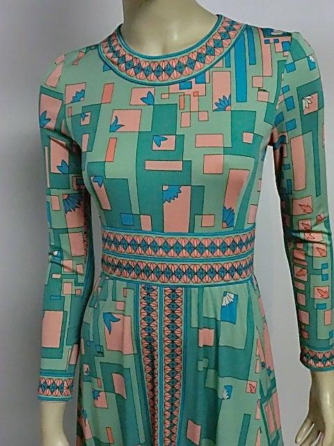 Bessi 60s Silk Jersey Mod Print Maxi Dress 5