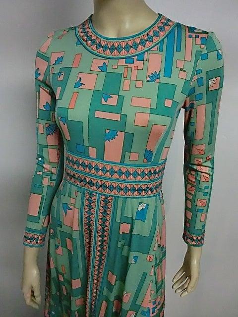 Bessi 60s Silk Jersey Mod Print Maxi Dress 8