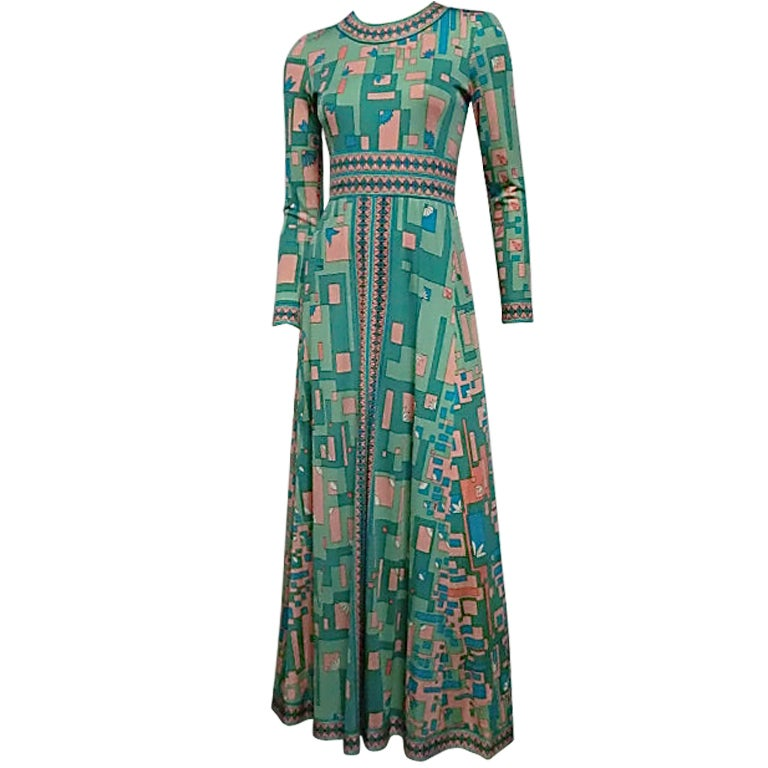 Bessi 60s Silk Jersey Mod Print Maxi Dress