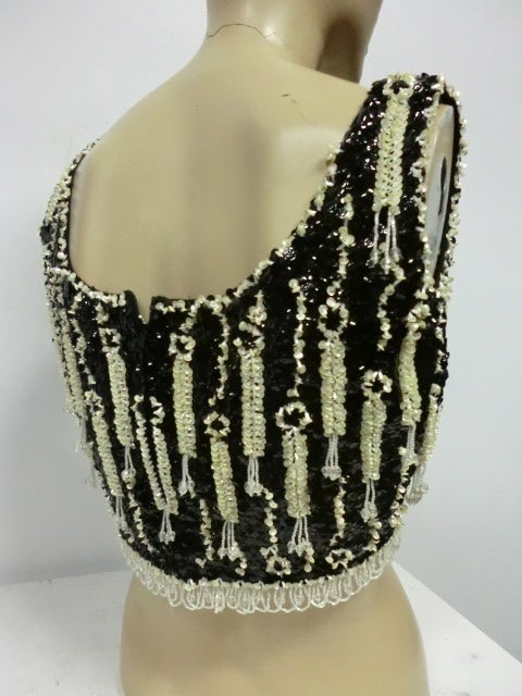 60s Beaded and Sequined Cropped Tank in Black and White 3