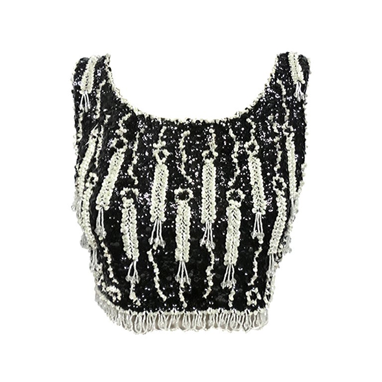 60s Beaded and Sequined Cropped Tank in Black and White 1