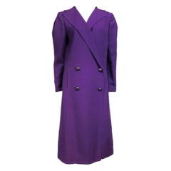 Pauline Trigere 80s Double Breasted Purple Wool Coat