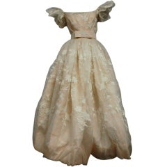 50s Helen Rose Embroidered Silk Organza Gown w/ Puff Sleeves