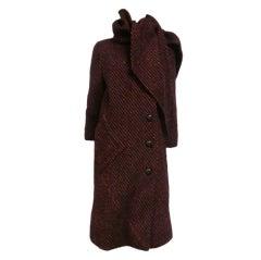 Pauline Trigere 70s Tweed Coat w/ Scarf