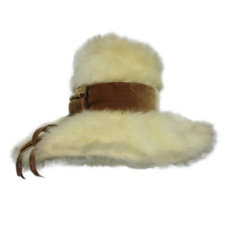 Leslie James 60s Angora Wide Brim Hat