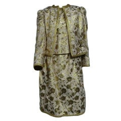 Adolfo 70s 3 Piece  Silk Brocade Skirt Suit