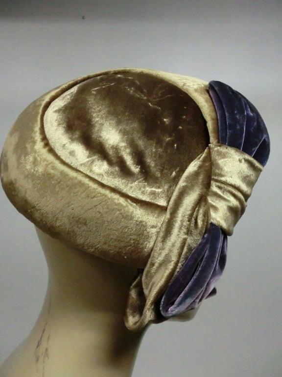 50s Mr. John Silk Panne Velvet Hat in Champagne and Purple 3