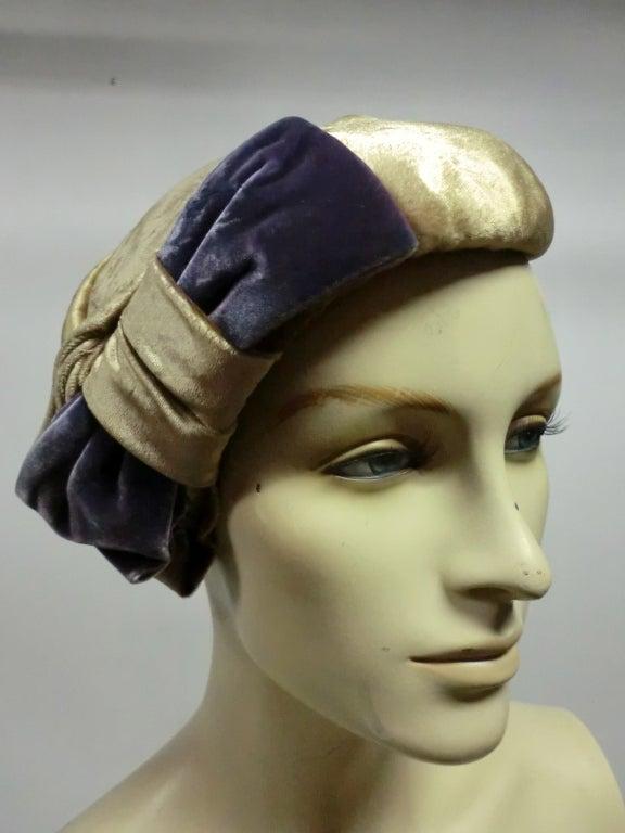 50s Mr. John Silk Panne Velvet Hat in Champagne and Purple 2