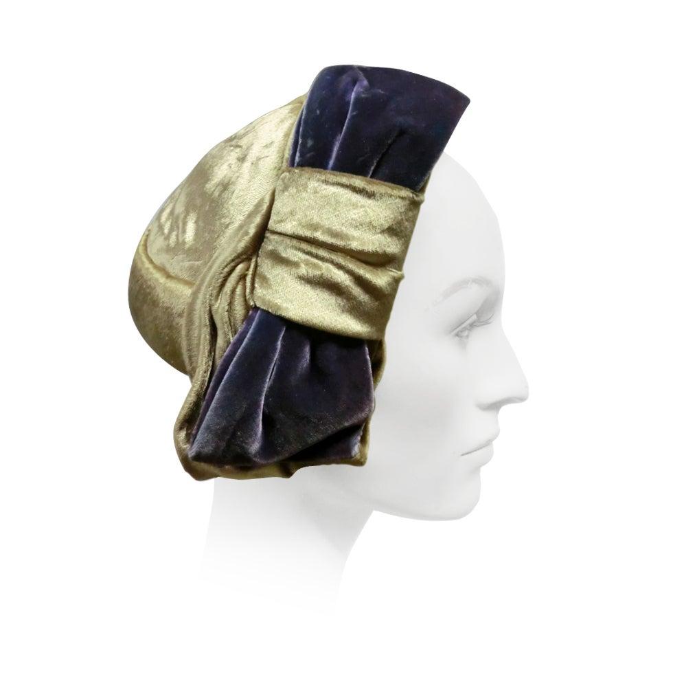 50s Mr. John Silk Panne Velvet Hat in Champagne and Purple 1