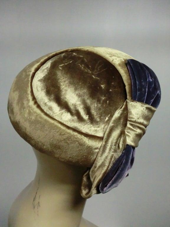 50s Mr. John Silk Panne Velvet Hat in Champagne and Purple 4