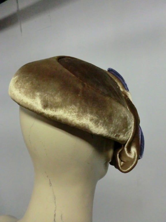 50s Mr. John Silk Panne Velvet Hat in Champagne and Purple 5