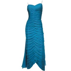 Jean Desses Design Aqua Pleated Gown w/ Flowing Chiffon Back