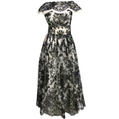 50s Black and White Ribbon Embroidered Gown