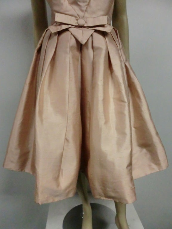Paul Whitney 50s Silk Shantung Cocktail Dress w/ Super Structure image 2