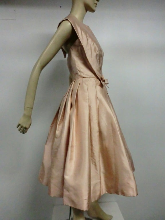 Paul Whitney 50s Silk Shantung Cocktail Dress w/ Super Structure image 3