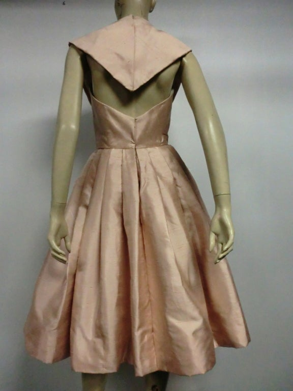 Paul Whitney 50s Silk Shantung Cocktail Dress w/ Super Structure image 4