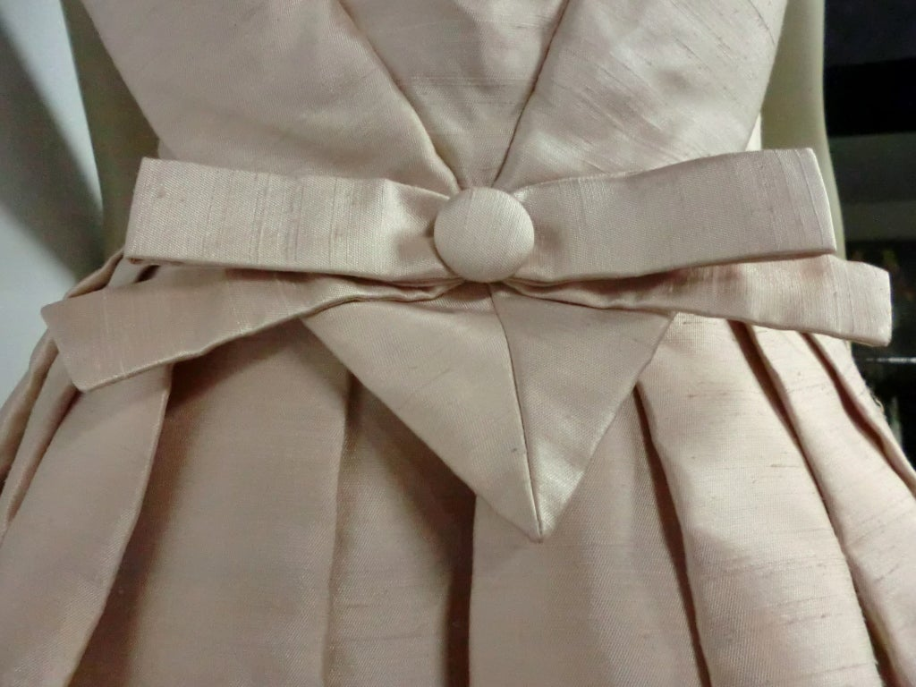 Paul Whitney 50s Silk Shantung Cocktail Dress w/ Super Structure image 6