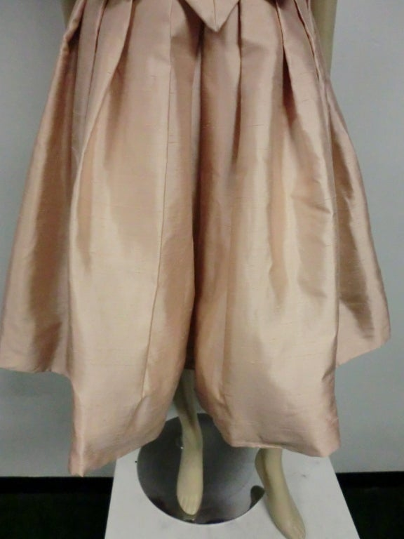 Paul Whitney 50s Silk Shantung Cocktail Dress w/ Super Structure image 7