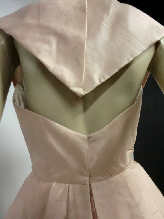 Paul Whitney 50s Silk Shantung Cocktail Dress w/ Super Structure image 8