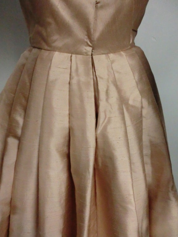 Paul Whitney 50s Silk Shantung Cocktail Dress w/ Super Structure image 9