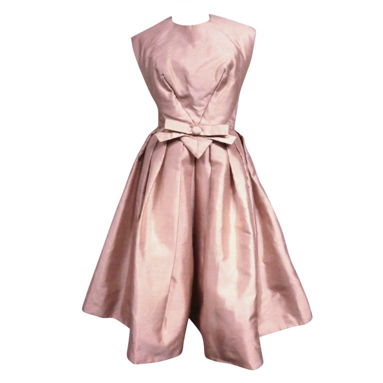Paul Whitney 50s Silk Shantung Cocktail Dress w/ Super Structure