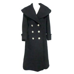 Geoffrey Beene Wool Double Breasted Coat w/ Portrait Collar