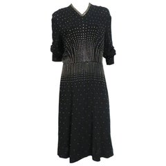 40s Heavily Studded Crepe Dress