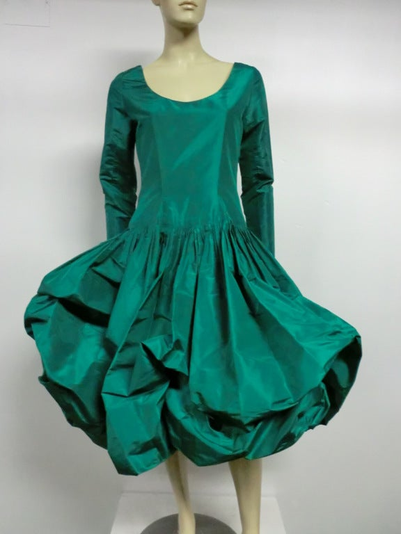 Bill Blass 70s Silk Taffeta Extravagant Bubble Hem Dress 2