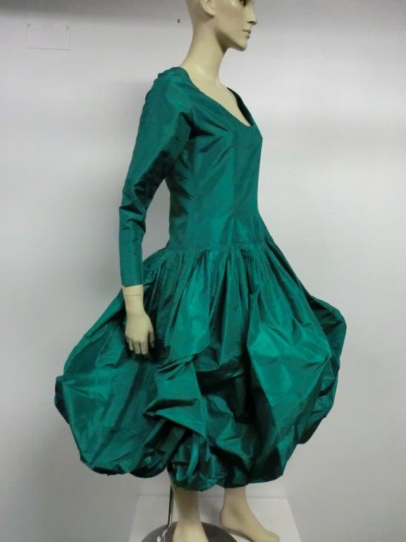 Bill Blass 70s Silk Taffeta Extravagant Bubble Hem Dress 3