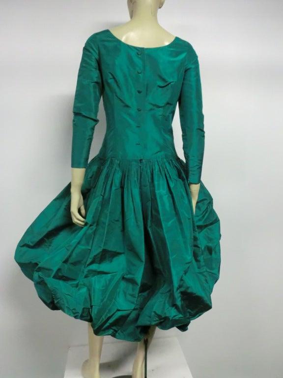 Bill Blass 70s Silk Taffeta Extravagant Bubble Hem Dress 4